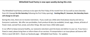 Whitefield Food Pantry information