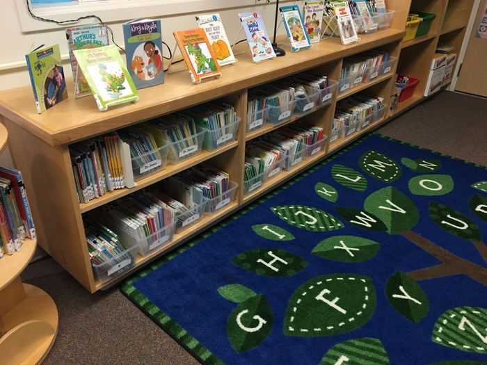 new rug in reading nook of library