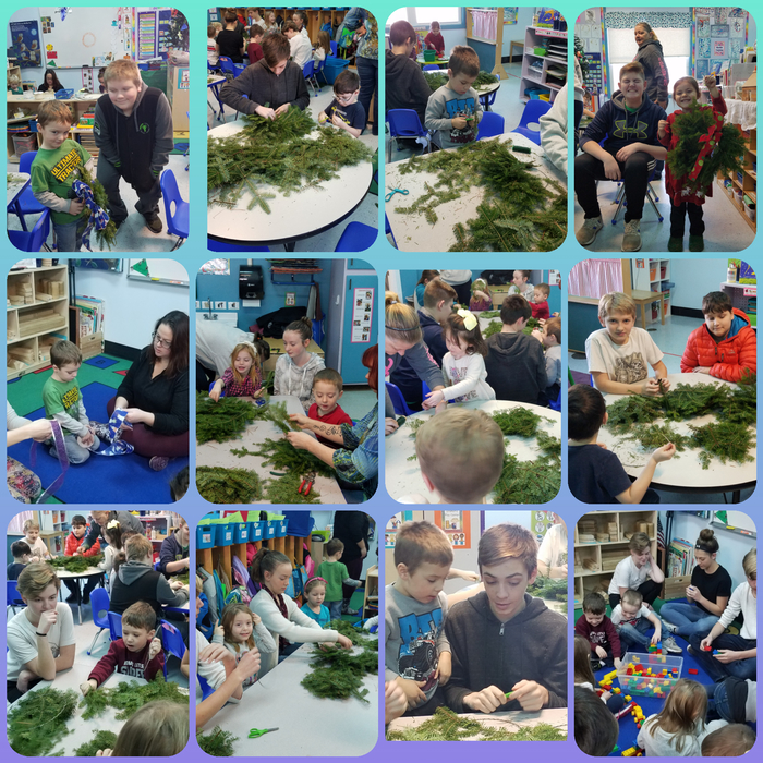 Wreath making in Pre-K