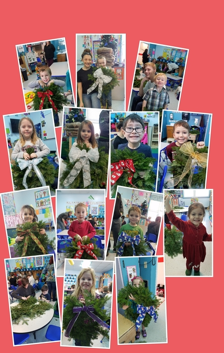 Pre-K with their wreaths