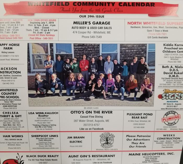 Community Calendar for Sale