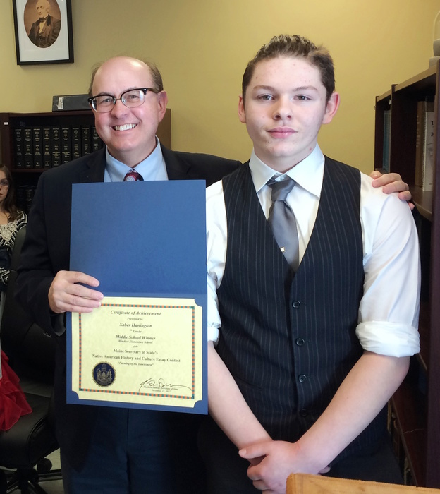 Saber was presented with his award by the Secretary of State, Matthew Dunlap